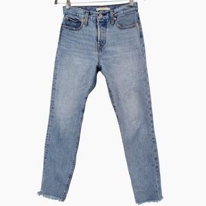 Levis Wedgie Icon Fit Jeans Shut Up Wash Cropped Raw Hem High Rise 22861-0036 25